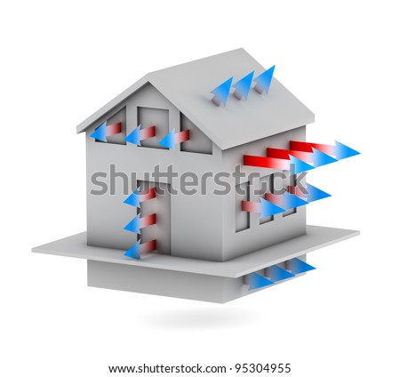 3d house with arrows of heat loss - stock photo