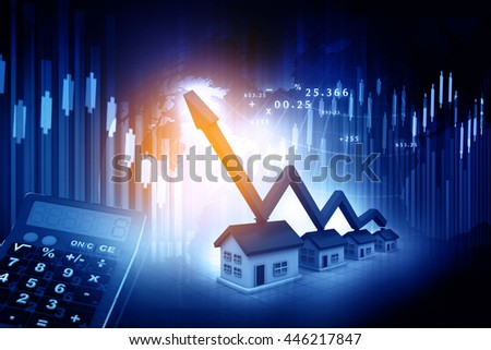 3d house with business graph chart. Real estate growth cart - stock photo