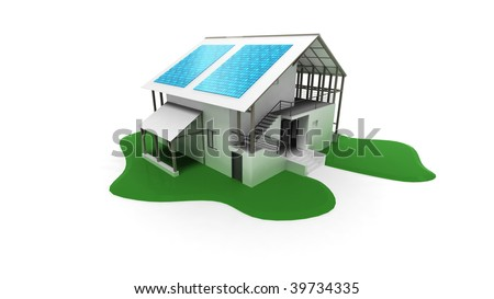 3d house with solar panels - stock photo