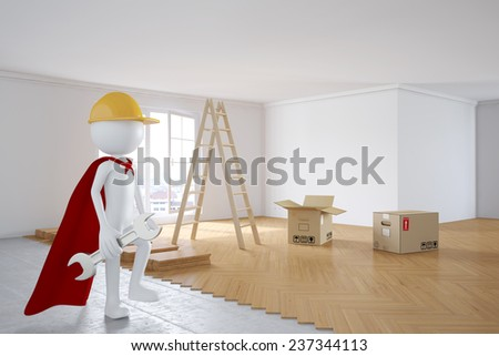 3D human as superhero worker during renovation in a room with new flooring (3D Rendering) - stock photo