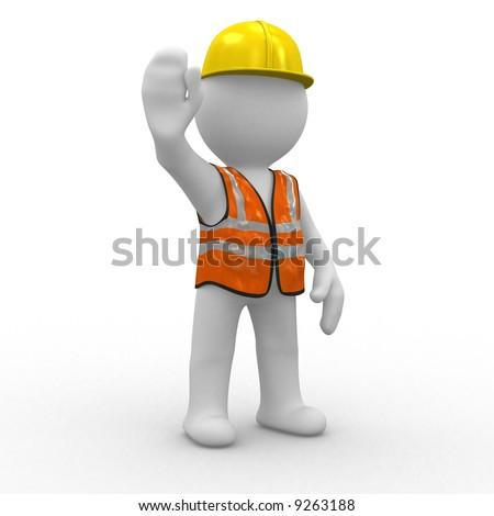 3d human at a stop pose - stock photo