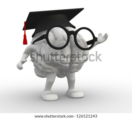 3d human brain with arms and legs, Graduation cap - stock photo