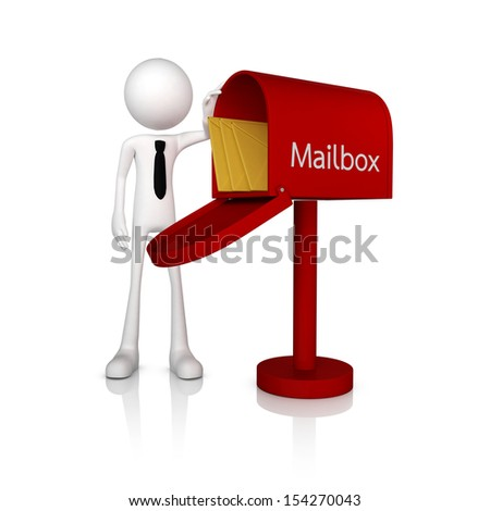 3d human businessman stand with mail box. Isolate on white background - stock photo