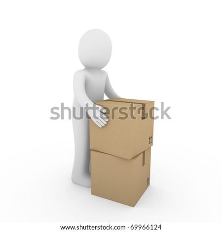 3d, human, carton, package, box, send, shipping, brown - stock photo
