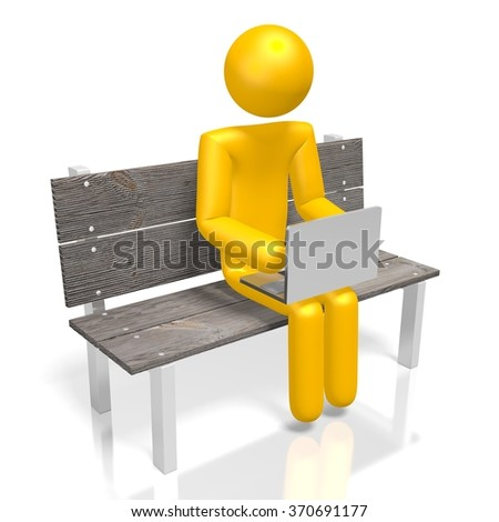 3D human character and laptop sitting on a bench - great for topics like wireless connection to the Internet, mobility, e-commerce etc. - stock photo