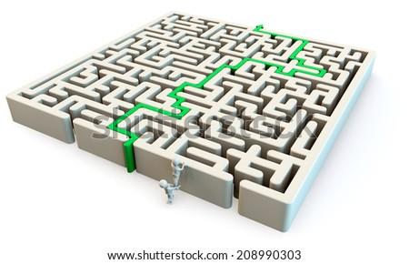 3D human character climbing to maze, 3d render - stock photo