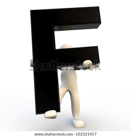 3D Human character holding black letter F, small people - stock photo