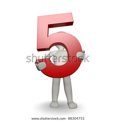 3D Human character holding number five, 3d render, isolated on white - stock photo