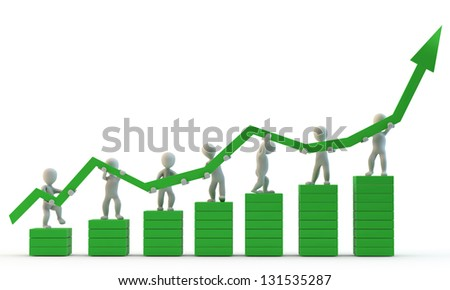 3D Human charcter (small people) holding big green arrow, 3d render, isolated on white - stock photo