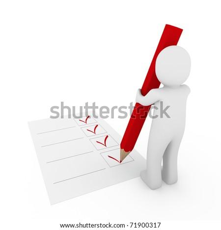 3d human check box paper pen pencil red - stock photo