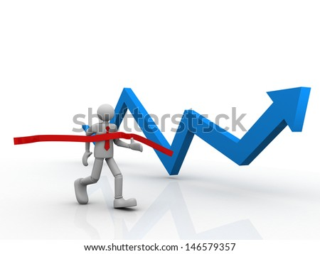 3d human crossing the finishing line, business arrow moving  - stock photo