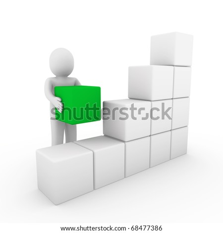 3d human cube box green white success business isolated - stock photo
