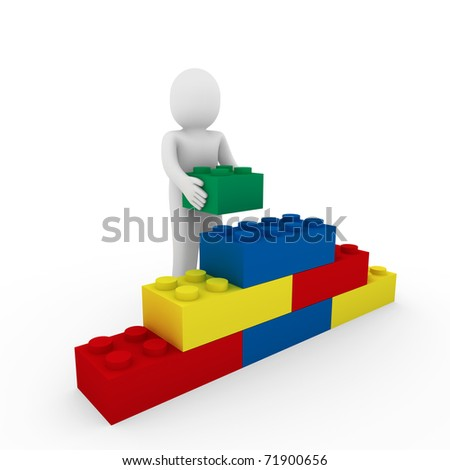 3d human cube stone blue red green business - stock photo