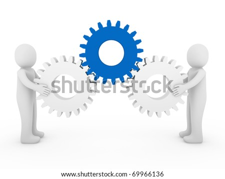3d human gear blue white business isolated background - stock photo