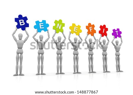 3D Human hand up with Benefit Sign - stock photo