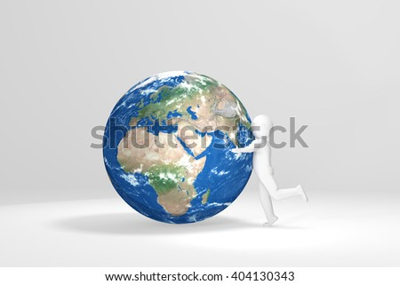 3d Human hugs Earth - Europe, Africa, Middle East - stock photo