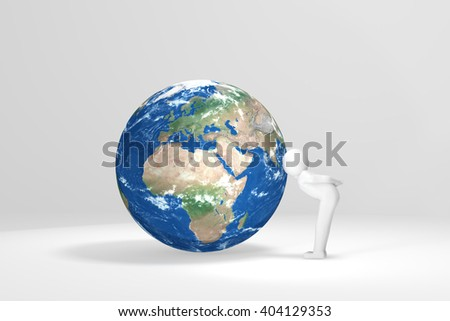 3D human kisses Earth - Europe, Africa, Middle East - stock photo