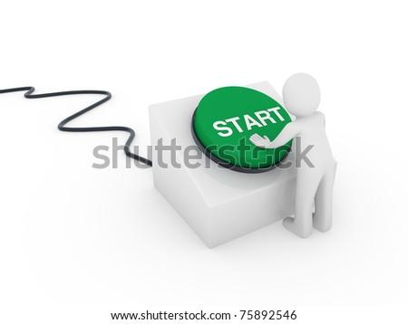 3d human man button green start push business - stock photo