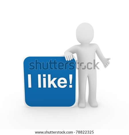 3d human man i like button blue social - stock photo