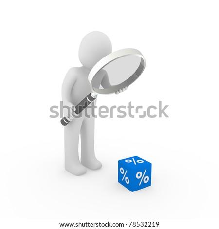 3d human man sale cube blue loupe percent - stock photo