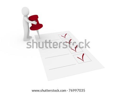 3d human man tack check red ok list - stock photo