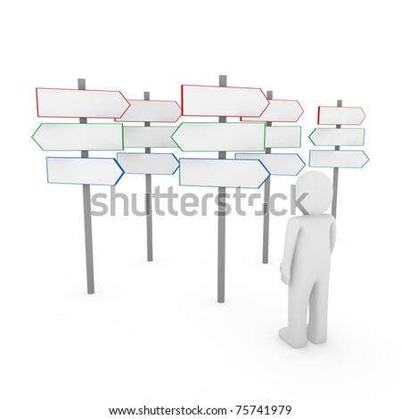 3d human man way sign red blue arrow - stock photo