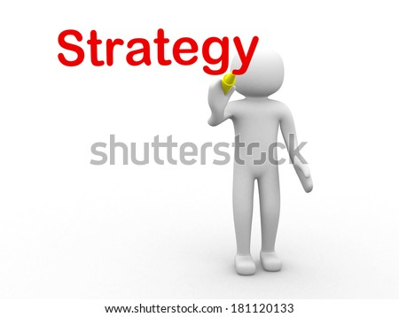 3d human on the logo Strategy! 3d render - stock photo
