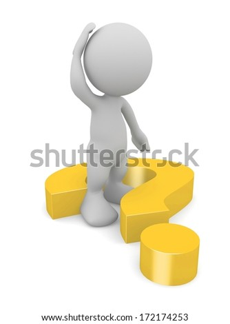 3d human scratching head with a question marks. 3d illustration. - stock photo