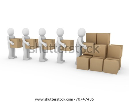3d, human, shipping, transport, container, box, package, man - stock photo
