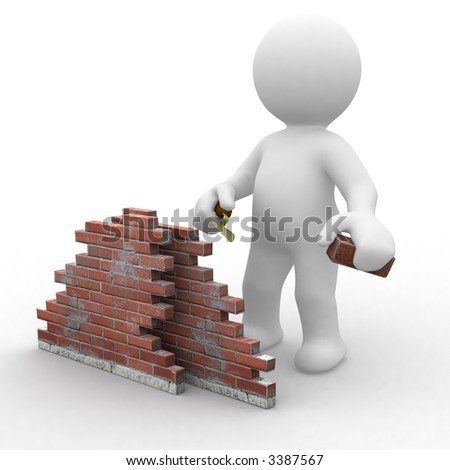 3d human trying to build a wall. under construction. - stock photo