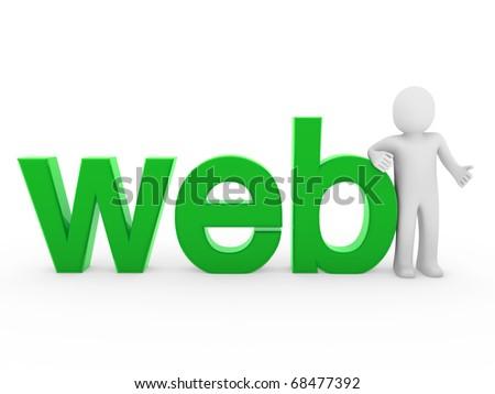 3d human web green internet white business man - stock photo