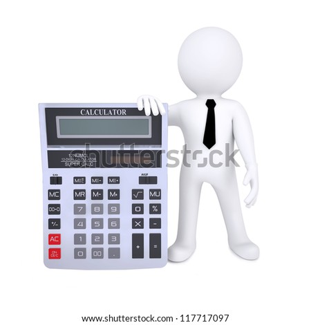 3d human with a calculator. Isolated on white background - stock photo