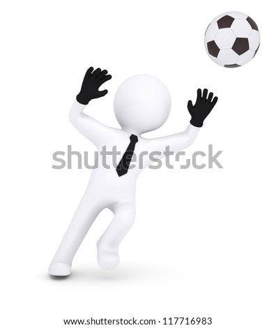 3d human with gloves goalkeeper catches a football. Isolated on white background - stock photo