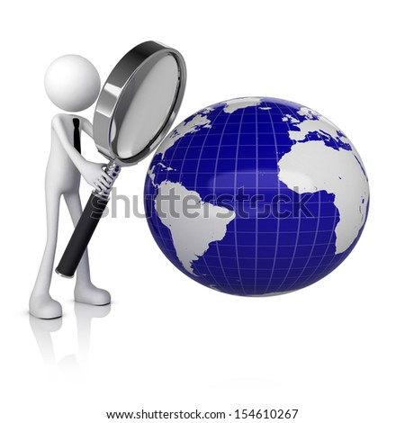 3D human with magnifying glass looking at earth  - stock photo
