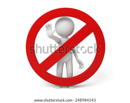 3d human with red stop sign on white background - stock photo