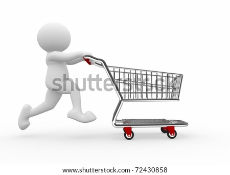 3d human with shopping cart - 3d render illustration - stock photo
