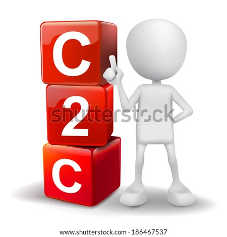 3d human with word C2C client to client cubes on white background - stock photo