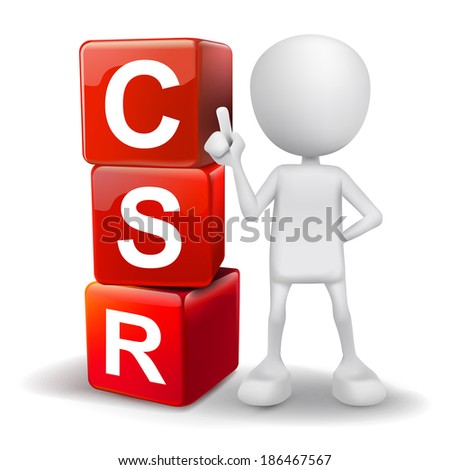 3d human with word CSR corporate social responsibility cubes on white background - stock photo