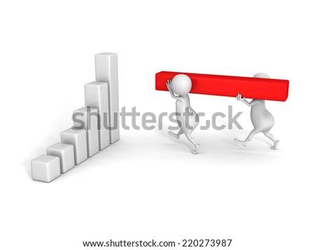 3d humans build success business bar chart graph. 3d render illustration - stock photo
