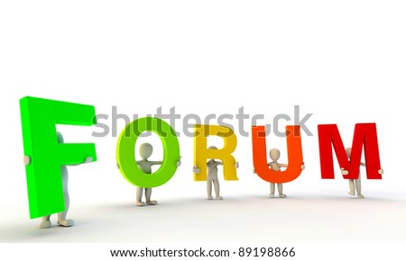 3D humans forming colorfull word Forum made from 3d rendered letters isolated on white - stock photo