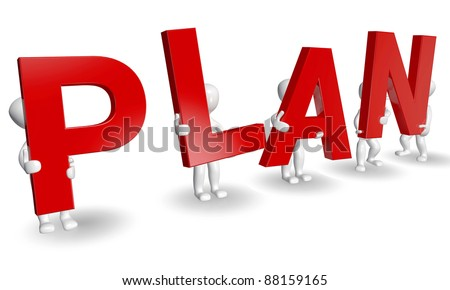 3D humans forming red PLAN word, 3d render isolated on white - stock photo