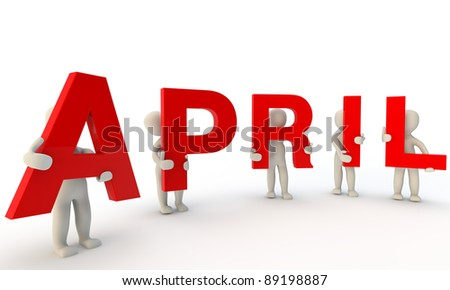3D humans forming red word April made from 3d rendered letters isolated on white - stock photo