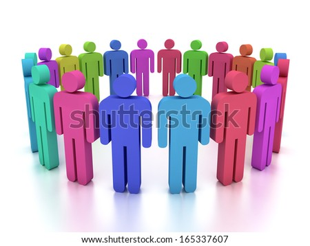 3d humans in a circle - stock photo
