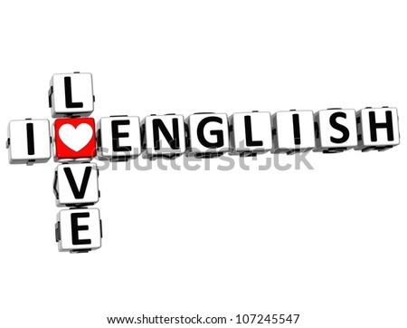 3D I Love English Crossword on white background - stock photo