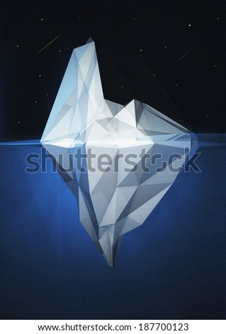 3D Iceberg render - stock photo