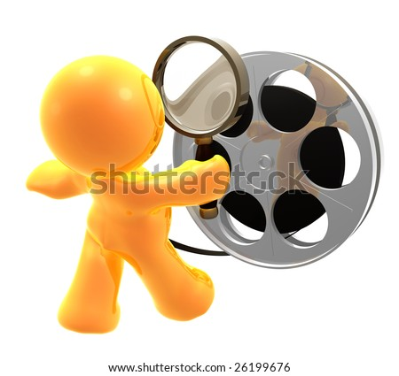 3D icon figure censoring a movie reel roll - stock photo