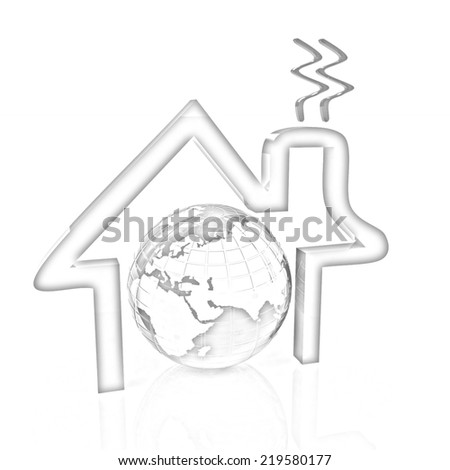 3d icon house, earth on white background. Pencil drawing - stock photo