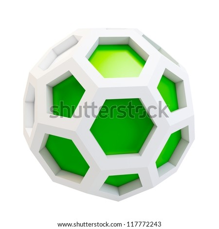 3d icosahedron abstract model on white background - stock photo
