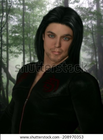 3D illustrated portrait of a sexy male character wearing a black leather zip up shirt with long black hair and blue eyes.  Forest background.  - stock photo