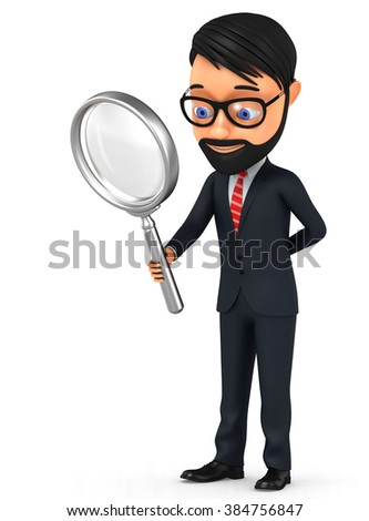 3d illustration. A man with a magnifying glass on a white background. - stock photo